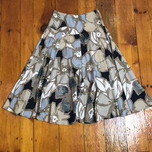 Vintage 80s/90s Taupe Blue/Grey Circle Skirt